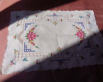SALE.  Gorgeous  French Handmade Embroidered Vintage Cross Stitch Doily in Multi Colors.