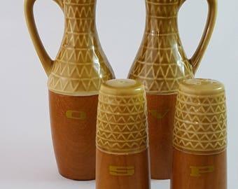 1970's Timber and Ceramic Cruet Set