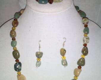 "24""L Earthtone Gemstones Necklaces, Bracelets with Earrings"
