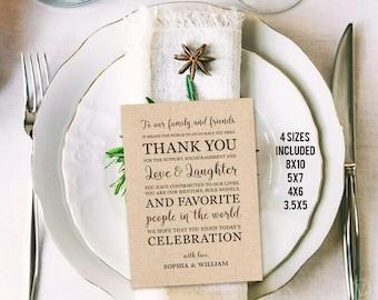 Wedding Thank You Card or Sign, Printable Rustic Wedding Thank You Card Template,