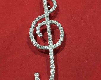 Dazzling Diamanté Treble Clef Brooch