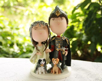 Couple holding hands with pets - Arwen and Aragon. Wedding cake topper. Handmade. Fully customizable. Themed Wedding