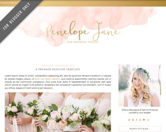 Blogger Template - Mobile Responsive & Dropdown Menu - INSTANT DOWNLOAD - Penelope Jane Theme