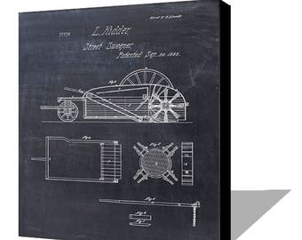 Street Sweeper Patent Print from 1853 - Canvas - Patent Art Print - Patent Poster