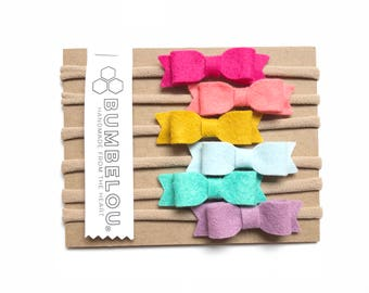 6 mini bows - One Size Fits All Nylon - Rainbow Collection