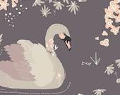 Dabbling Swan Plum - Organic Hello Ollie by Bonnie Christine - By the HALF Yard - Swan Fabric - Peach Floral - Gray Swans - Organic Fabric