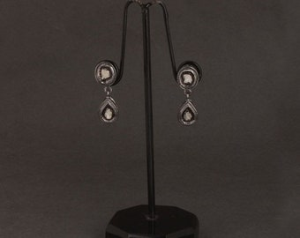 March Sale 1 Pair Polki Diamond Earring 925 Sterling Silver- Polki Earring 14mmx9mm-15mmx9mm ED116