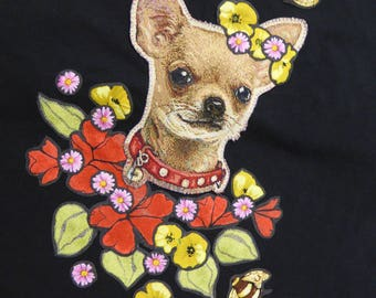 t-shirt customized - Frida canine or crowned chihuahua!