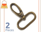 "1.25 Inch Swivel Snap Hooks, Antique Brass / Bronze Finish, 2 Pieces, Handbag Purse Bag Making Hardware Supplies, 1-1/4"", 1.25"", SNP-AA060"