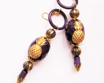 Pineapple, purple and gold earrings - EARRINGS PINEAPPLE