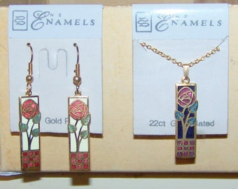 Vintage New on Card Old Stock Fine Enamels 22 ct Gold Plated Cloisonne Necklace and Earrings