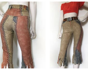 Amazing hippie patchwork pants Woodstock 69 pants with frayed ends. blue and red patches, womens size XS // 23'' waist