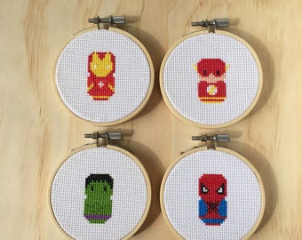 50% OFF SALE Superhero Hoops - Iron Man, The Hulk, The Flash & Spiderman (framed in bamboo hoops)