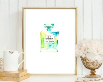 Chanel Perfume Bottle Watercolor Painting // Blue & Green Chanel Bottle // Fashion Art // Chanel No5 Painting