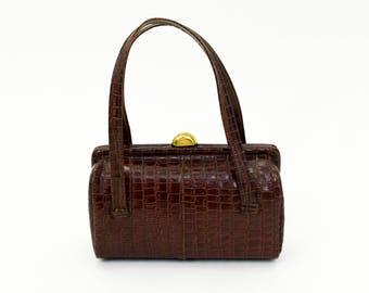 50s Brown Handbag   Faux Alligator Handbag   Box Purse