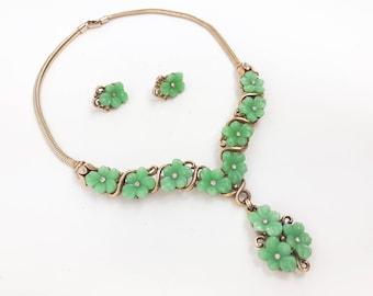 40s 50s  Green Molded Glass Demi Parure | Green Glass Flower Choker Earring Set | Trifari Alfred Phillipe