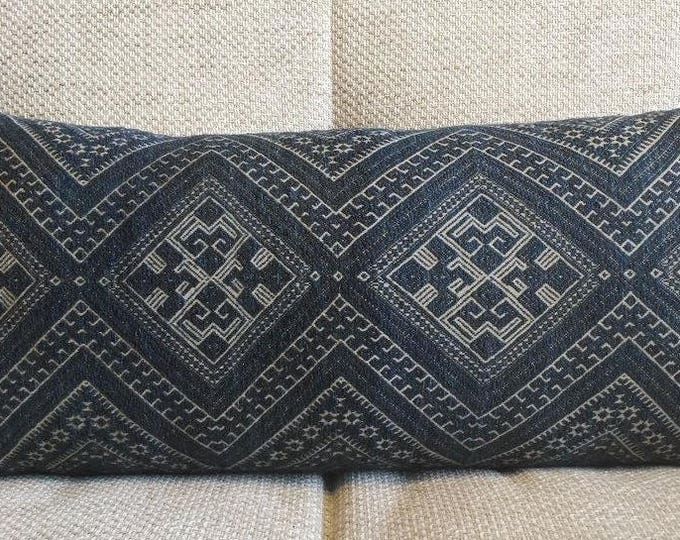 20% OFF SALE Rare Dark Indigo Chinese Wedding Blanket Pillow Cover / Vintage Boho Ethnic Miao Dowry Textile / Handwoven Lumbar Cushion Cover