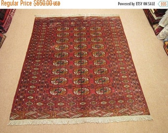 30%OFF DISCOUNT Size:5 ft by 4.2 ft Handmade Rug Turkomen Vintage Faded Tekke Bokhara Carpet