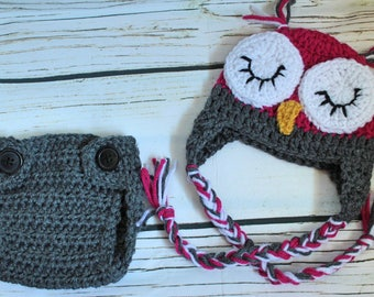 Crochet owl newborn baby photo prop |Made to order | Sizes: newborn to 18-24 months