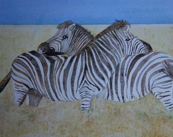 animal watercolor: two zebras intertwined
