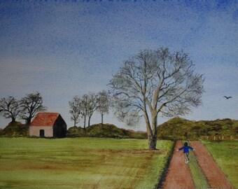 watercolor landscape: flight of a child