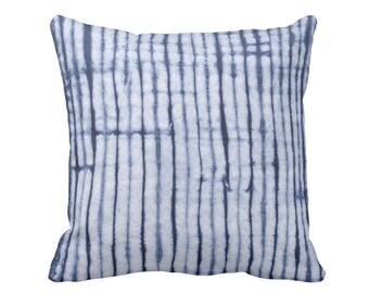 "Shibori Stripe Throw Pillow, Indigo & Navy Blue Print 16 or 20"" Square OUTDOOR or INDOOR Printed Fabric Pillows, Hand-Dyed Effect Pattern"