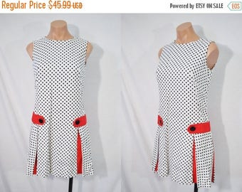 SALE Vintage 60s Polka Dot Scooter Dress Mini Go Go Dress Mod Dress Quirky Day Dress 101 Dalmatians Disney Bound Dress Drop Waist Dress
