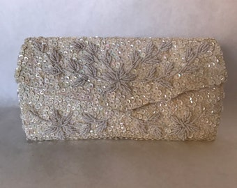 Vintage 60s Beaded Envelope Clutch Purse / Ivory White Satin Evening Bag / Handmade in Hong Kong