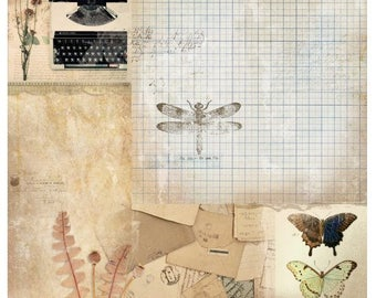 Studio Light My Botanic Garden SCRAPMBG03 Vintage style butterflies double sided Scrapbooking, 12 x 12 200gsm quality double sided paper,