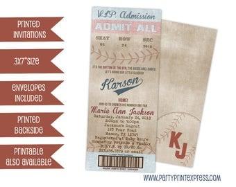 Vintage Baseball Baby Shower Invitation - Boy Baby Shower Invitations - Baseball Invite - Baseball Shower Printed Invites - Antique Boys