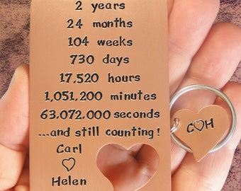 2nd Anniversary, Hand Engraved, Couples Gift Set, Copper Card, Heart Key Chain, Happy Campers