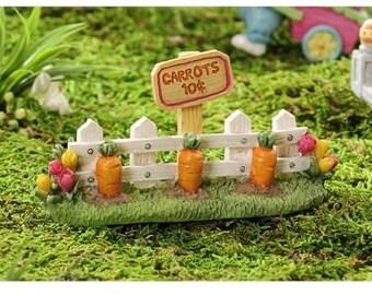 Fairy Garden  - Easter Bunny Trail Carrot Garden Fence - Miniature