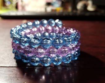 Handmade Ice Blue & Lilac Purple 8mm Rondelle 3 Wrap Memory Wire Bracelet