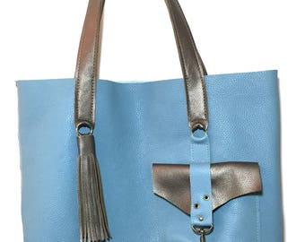 Leather tote bag / Leather Tote Handmade/ Blue Leather Bag / Raw Edge Leather  / Women's Leather Tote /Leather Tote with pockets
