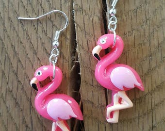 Flamingo earrings, flamingo jewelry, pink earrings, gift for her, birthday gift, gift for daughter,  galentines gift, treat yourself