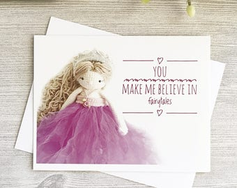 Princess Birthday Card | Fairytale Birthday | Princess Valentine | Tiara Greeting Card | Yarn  Card |