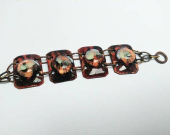 Vintage copper enamel panel bracelet