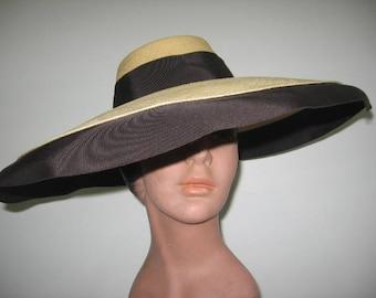 1940's Extreme Wide Brim Genuine Panama Straw Fedora Hat!