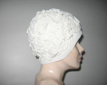 Vintage Swim Cap, Ivory Roses!