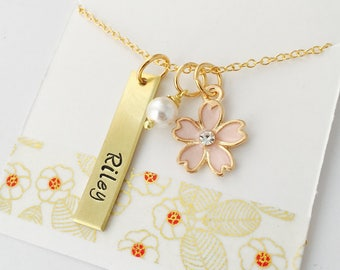 Personalized Name Necklace,  Flower Necklace, Flower Girl Necklace, Gold Name Necklace, Custom Flower Girl Necklace