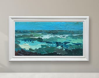 Abstract Painting Ocean Painting Oil Painting Original Painting Sea Art Modern Painting Wave Painting Blue Green Impasto Anniversary Gifts