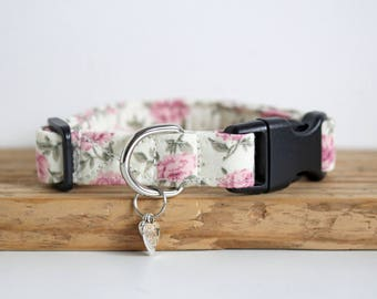 Lottie - Pink and Cream Floral Small Dog or Puppy Collar, Made To Measure