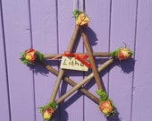 Summer Pentagram, Litha Sign, Midsummer Solstice, Dried Pink Roses, Floral Decoration, Pagan Altar, Wiccan Wall Hanger, Witchy Door Hanging