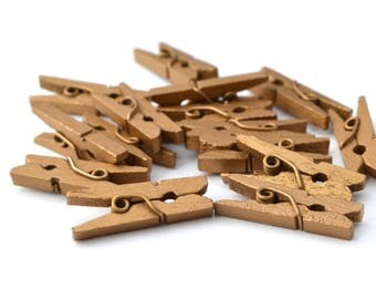 15 tiny clothespins antique bronze 25 mm