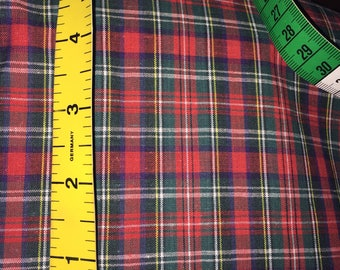 Stewart Tartan [Bonnie Prince Charlie Modern] Plaid Checked Cotton Blend Fabric 148 cm /58 inches wide  1 meter lengths