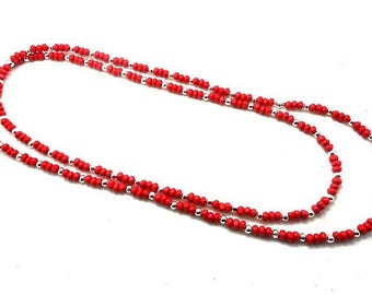 Long necklace fancy red and silver round wood beads and charms and co.