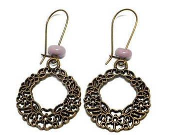 Earrings sleepers flowery and pink bead