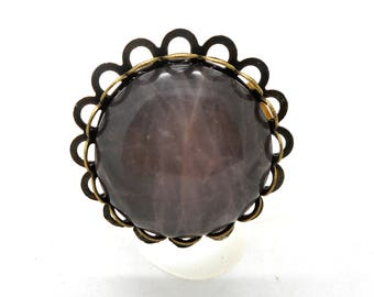 Bronze ring, rose quartz cabochon