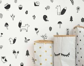 Woodland Wall Decals - Woodland Nursery Decor, Nursery Decals, Forest Decals, Tree Wall Decals, Wall Decor