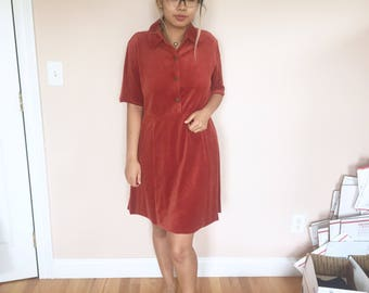 velvet burnt orange red babydoll dress // size medium